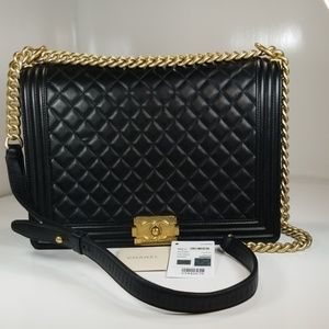 CHANEL BOY LARGE BLACK QUILTED LAMBSKIN FLAP BAG